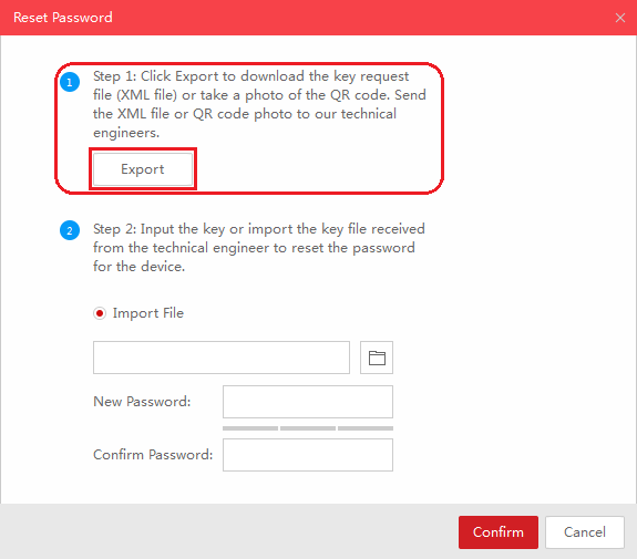 SADP Reset Password Step 1